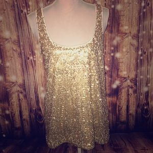 Express Large Cream Tank Top w/Gold Sequins Front